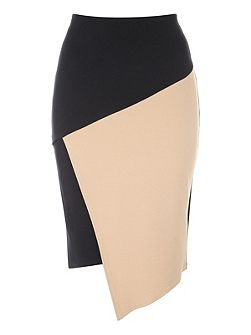 Black and Camel Assymetric Skirt