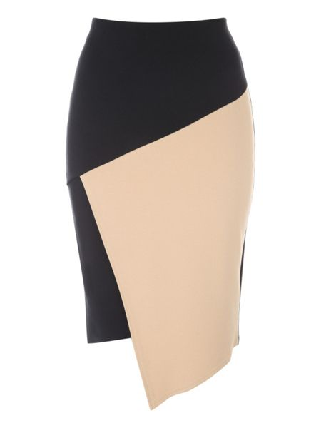 Jane Norman Black and Camel Assymetric Skirt