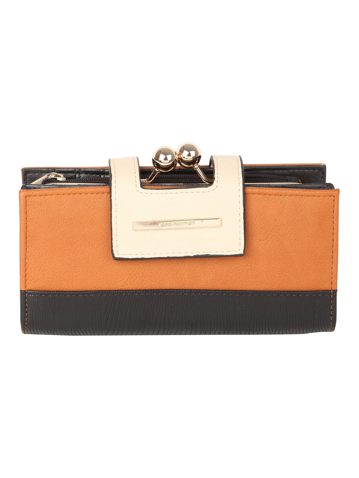 Tan Colour Block Purse