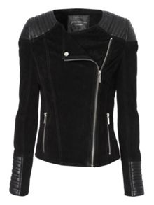 Leather and suede mix jacket