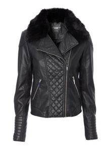 Fur collar biker jacket