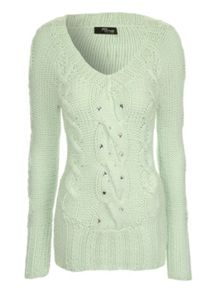 Cable knit jewel jumper