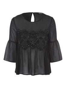 Jane Norman Black Embellished Panel Chiffon Blouse