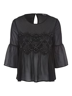 Black Embellished Panel Chiffon Blouse