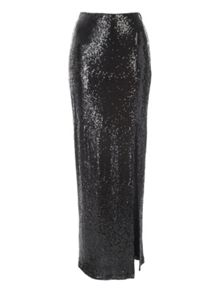 Jane Norman Black Sequin Side Split Maxi Skirt