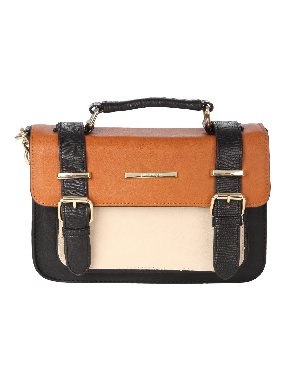 Tan Block Colour Satchel Bag