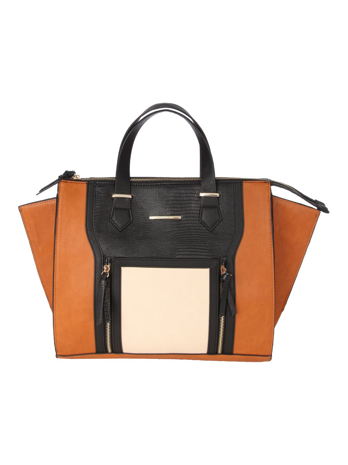 Tan Block Colour Shopper Bag