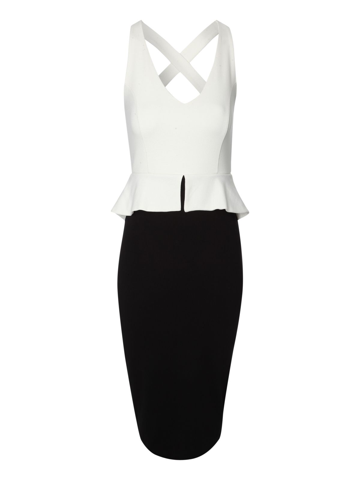 Monochrome Crossback Peplum Dress