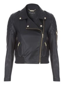 Jane Norman Black PU Bomber Jacket