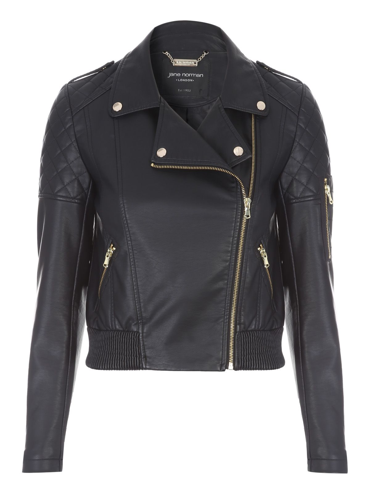Jane Norman Black PU Bomber Jacket, Black