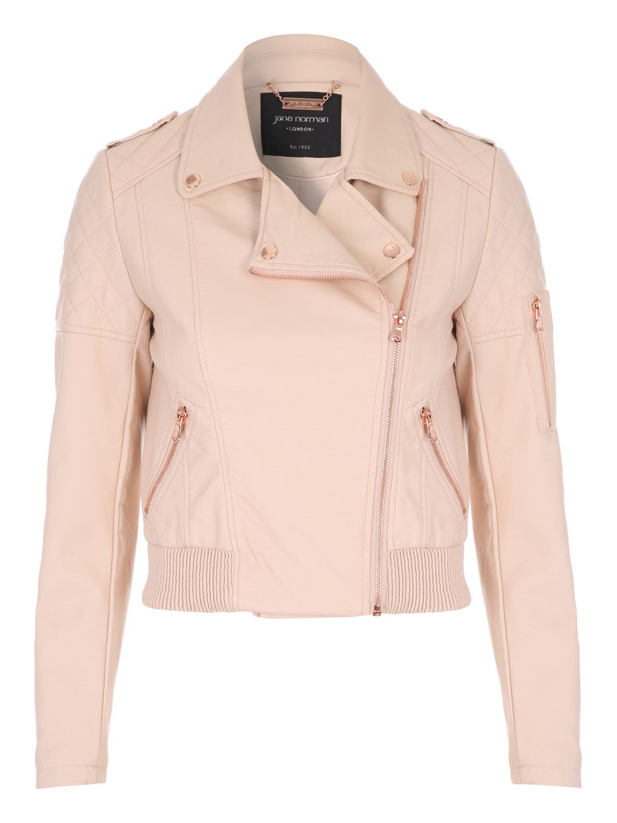 Jane Norman Black PU Bomber Jacket, Pastel Pink