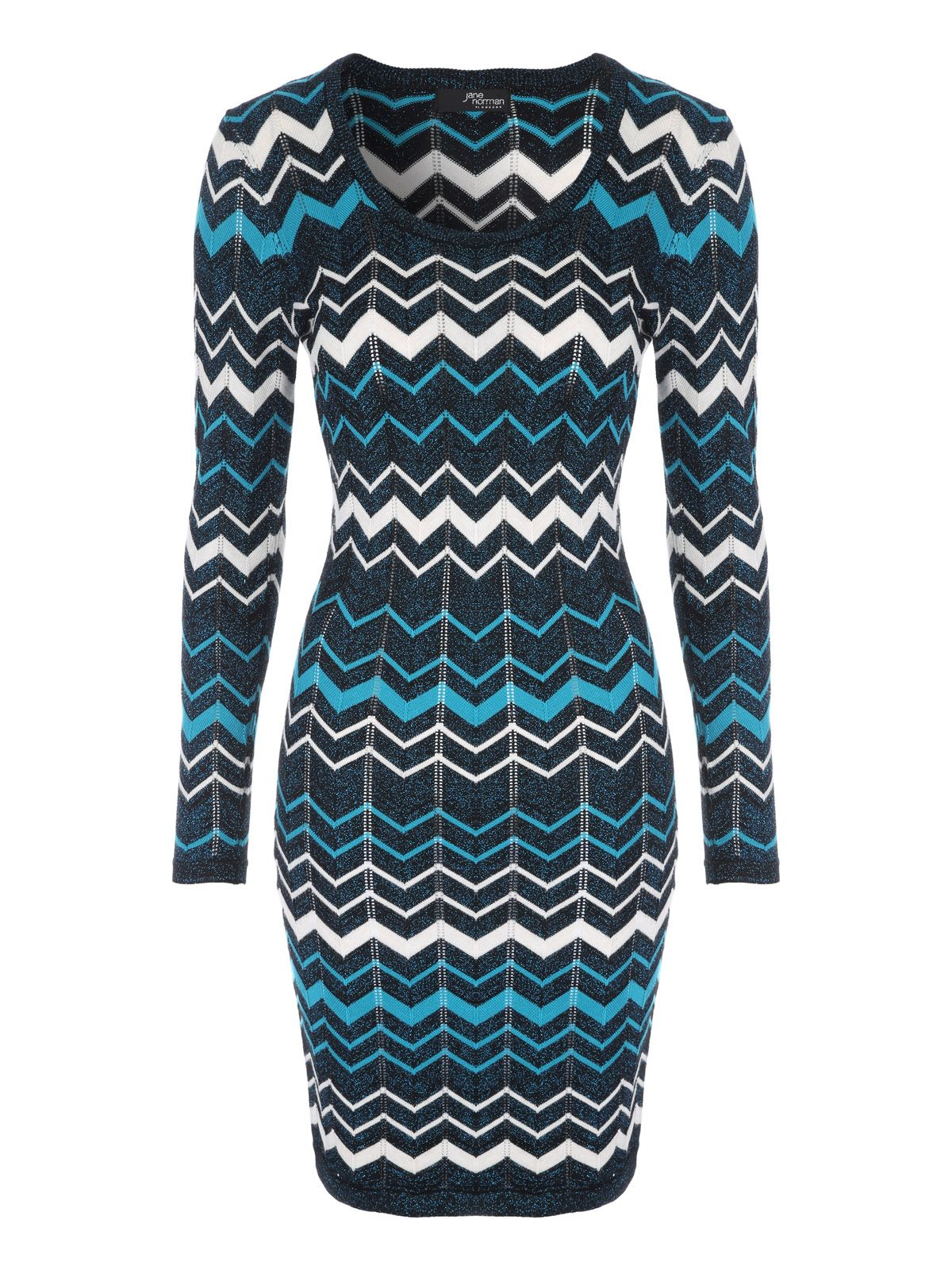 Jane Norman Chevron Jumper Dress, Blue