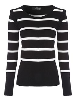 Monochrome Scoop Stripe Jumper