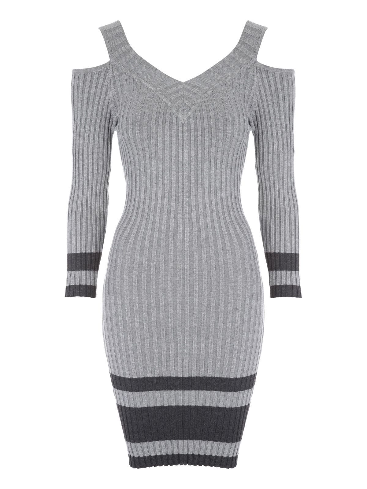 Jane Norman Cold Shoulder Jumper Dress, Grey Marl