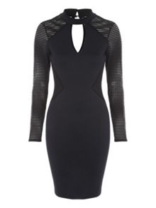 Jane Norman Fishnet Choker Bodycon Dress