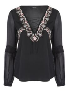 Jane Norman Satin Embroidered Blouse