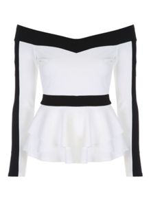 Jane Norman Monochrome Peplum Top
