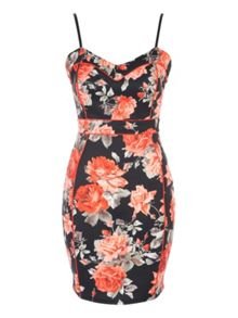 Jane Norman Coral Floral Seam Detail Dress