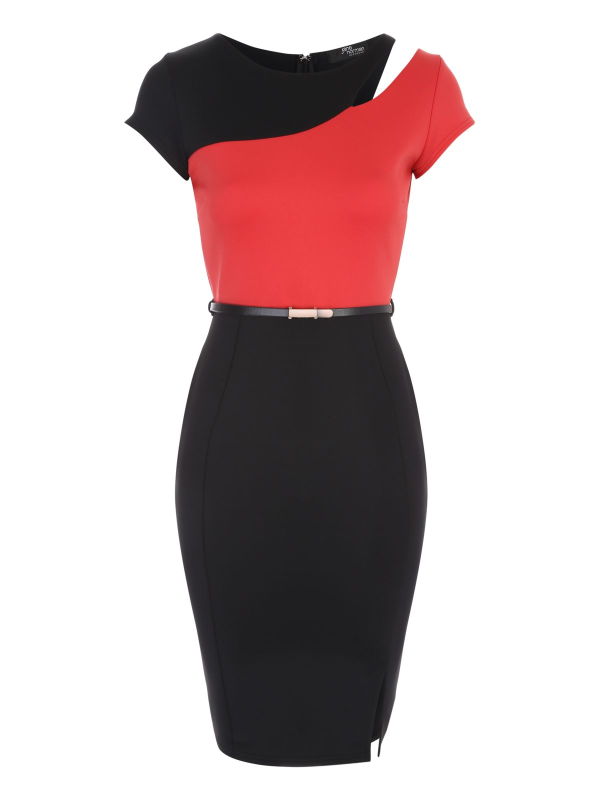 Jane Norman Jane Norman Black and Coral Belted Colourblock Dress, Multi-Coloured