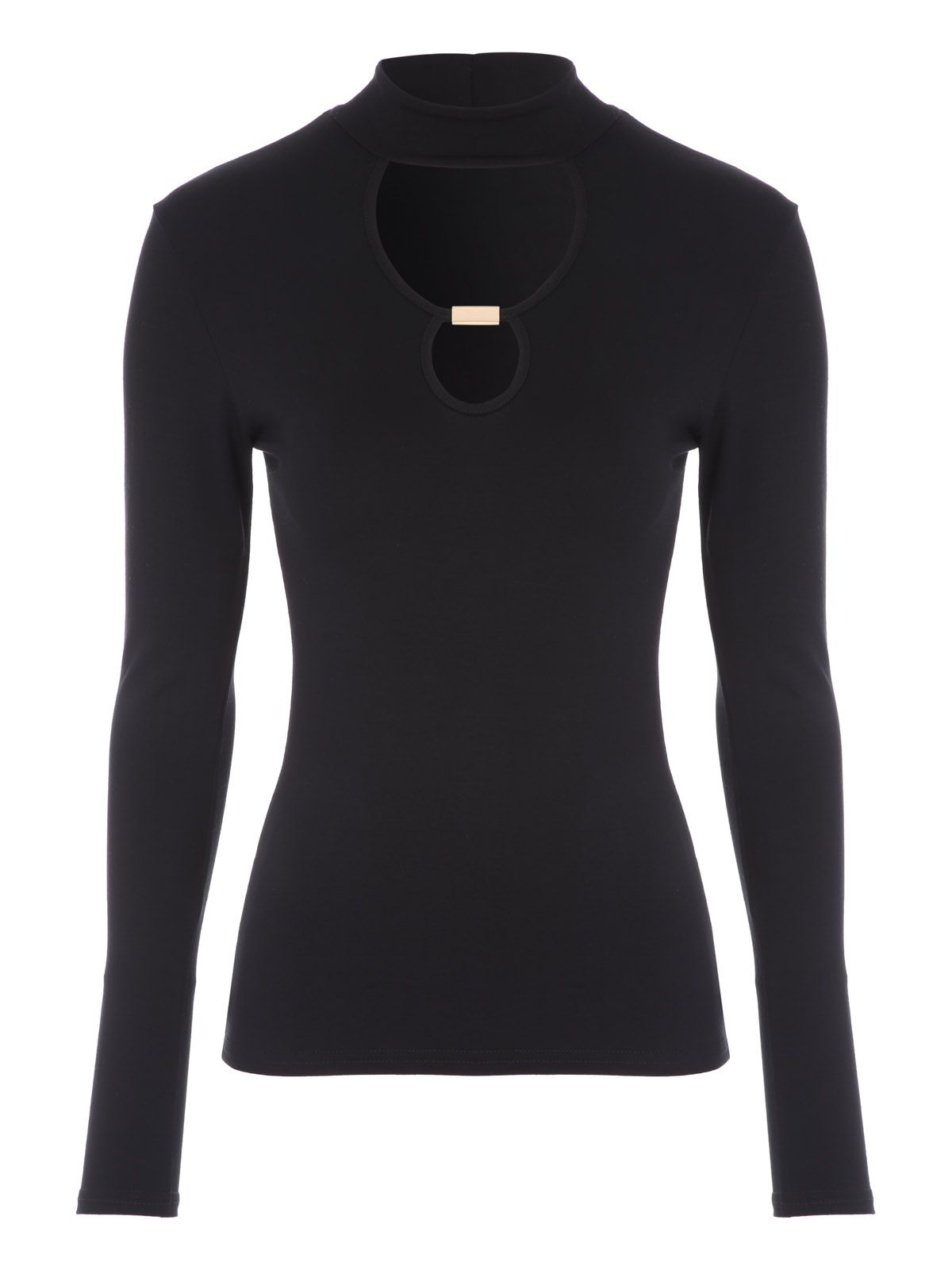 Jane Norman Jane Norman Long Sleeve Cut-Out Top, Black