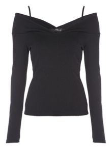 Jane Norman Textured Long Sleeve Bardot Top