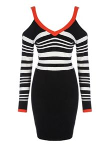 Jane Norman Monochrome & Red Buckle Shoulder Dress