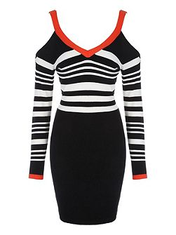 Monochrome & Red Buckle Shoulder Dress