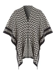 Jane Norman Monochrome Chevron Cape Cardi