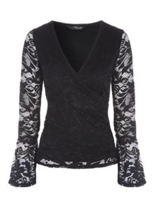 Jane Norman Lace Wrap Top