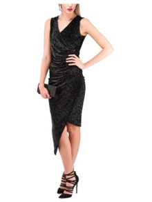 Jane Norman Black Sparkle Ruched Wrap Top