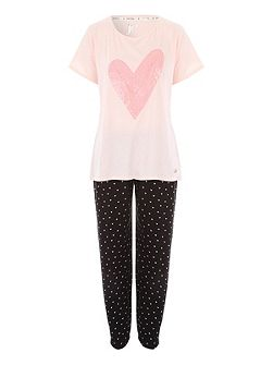 Heart Printed Legging Nightwear PJ Set