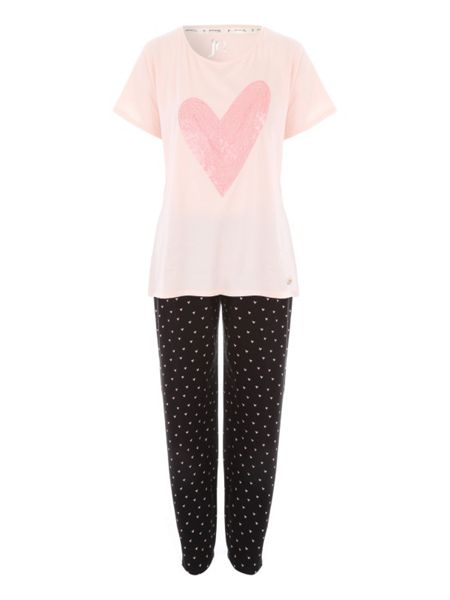Jane Norman Heart Printed Legging Nightwear PJ Set