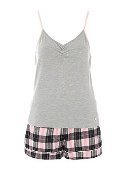Grey & Check Shorts Nightwear PJ Set