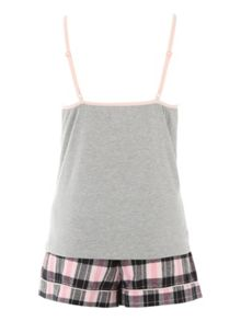 Jane Norman Grey & Check Shorts Nightwear PJ Set