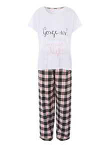 Jane Norman Gorgeous! Check Trouser Nightwear PJ Set