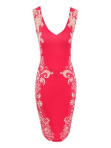 Border Print Bodycon Dress