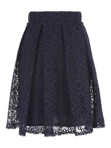 Navy Lace Pleated Skirt