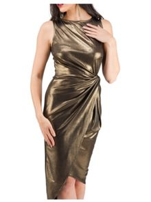 Jane Norman Gold Foil Knot Party Dress