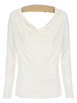 Sequin Trim Cowl Back Top
