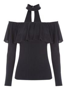 Jane Norman Choker Ruffle Bardot Top