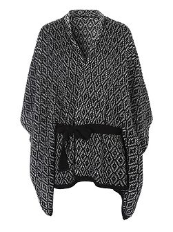 Black and White Belted Cape Cardigan