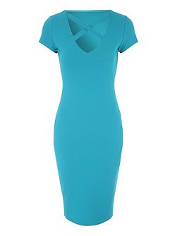 Cross Neck Jersey Dress