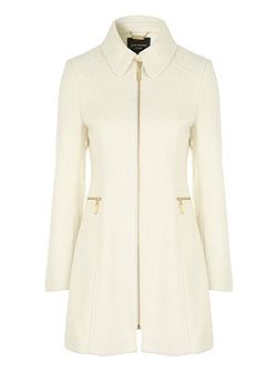 Cream Fitted Zip Coat