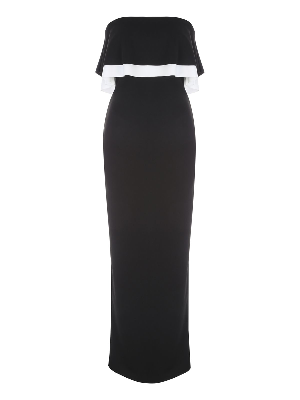 Jane Norman Monochrome Ruffle Maxi Dress, Multi-Coloured
