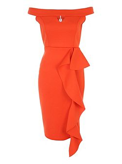 Orange Ruffle Bardot Dress
