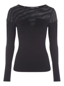 Jane Norman Long Sleeve Mesh Top