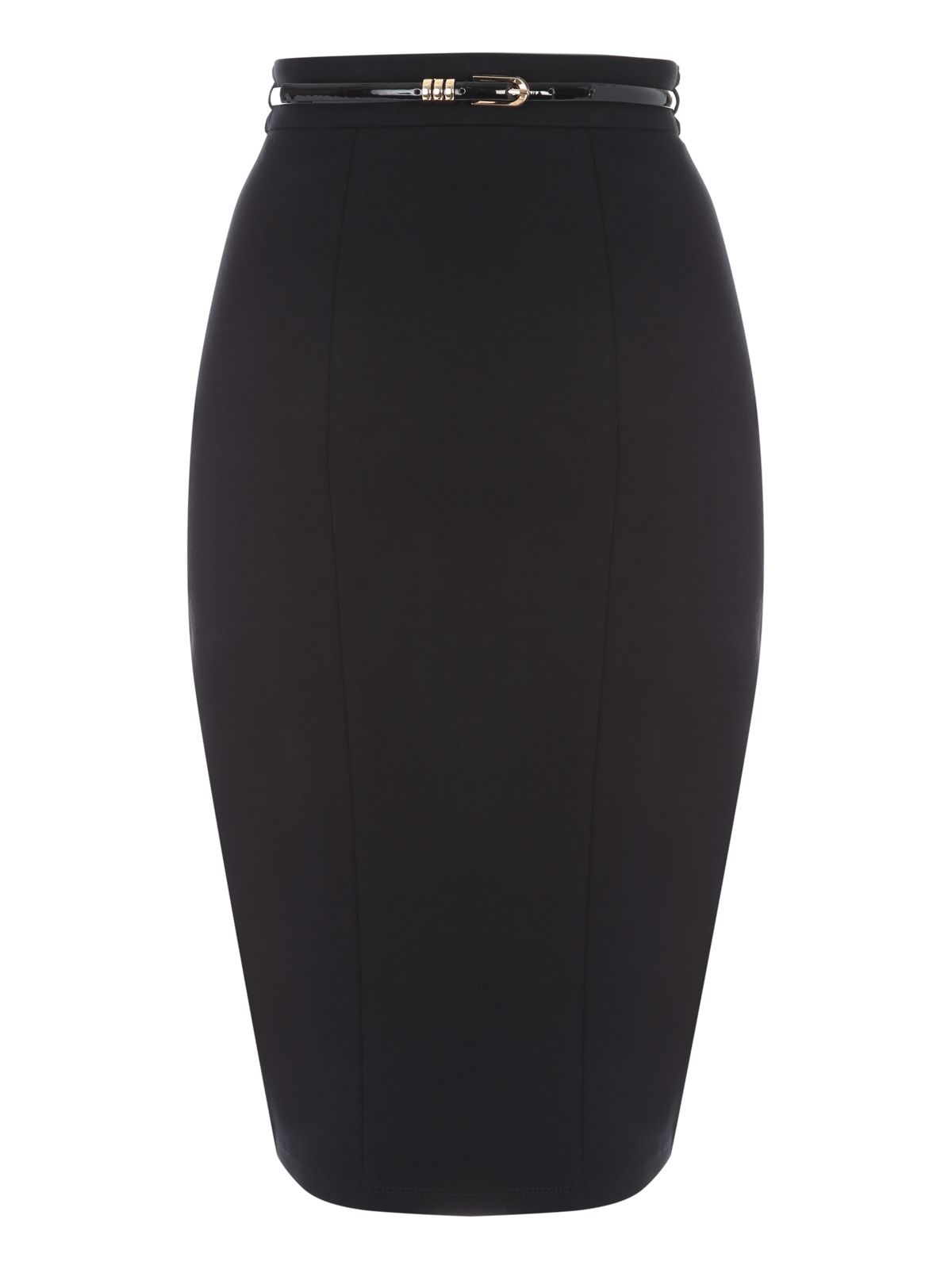 Jane Norman Black Belted Pencil Skirt, Black