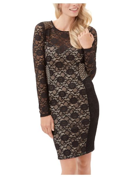 Jane Norman Black Floral Lace Geo Panel Dress