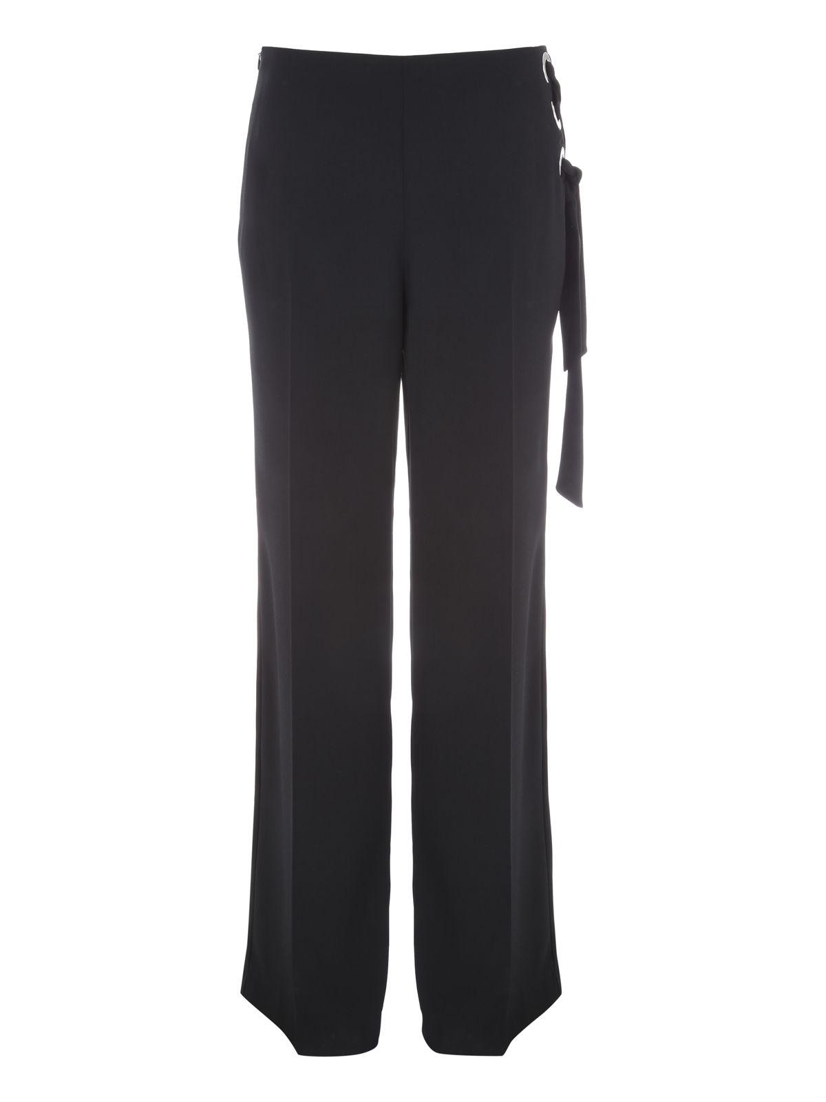 Jane Norman Wide Leg Eyelet Trousers, Black