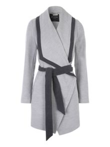Jane Norman Grey Contrast Belted Coat